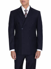 Mens Solid Navy Blue 6-On-2 Double Breasted Super 140's Wool Suit