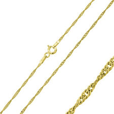 Men 1.5mm 925 Sterling Silver Singapore Chain Necklace Gold Plated made in italy