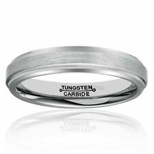 Women Men 4mm Tungsten Carbide Wedding Band Brushed Finish Beveled Polished Ring