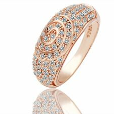 NWT 18K Gold Plated CZ Crystal Rhinestone Women Wedding Engagement Ring Jewelry