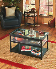 Glass Lift Top Display End Table Coffee Table Livingroom Furniture BLACK