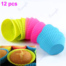 12pc Soft Silicone Muffin Round Cake Cupcake Liner Chocolate Baking Cup Mold New