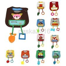Cute Cartoon Cotton Toddler Infant Baby Bibs Saliva Pinafore with Teethers Toys
