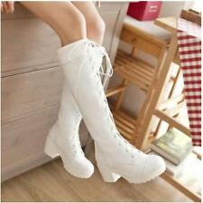 Women's PU Leather Lace up Block high heels cosplay knee high knight boots shoes