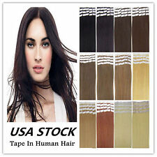 "50g 60g 70g Straight / Wavy 12"" 24"" Remy AAA Tape In 100% Human Hair Extensions"