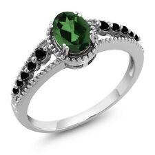 1.00 Ct Oval Emerald Envy Mystic Topaz Black Diamond 14K White Gold Ring