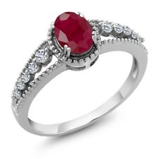 1.23 Ct Oval Red Ruby White Topaz 925 Sterling Silver Ring