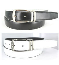 "MEN'S LEATHER REVERSIBLE DRESS BLACK/WHITE BELT 32""- 54""  BIG AND TALL NEW NWT"