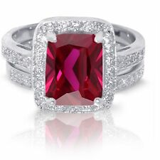 Large Emerald Cut Traditional Ruby Wedding Engagement Sterling Silver Ring Set