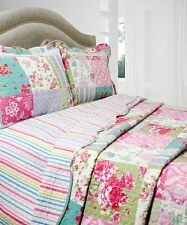 NEW Twin Full Queen King 3 pc Pink Blue Floral Reversible Quilt Coverlet Set NWT
