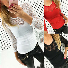 AU Womens New Ladies Sexy  Long Sleeve Slim Bodycon Lace  Shirt Top  Blouse Tee