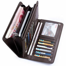 Fashion Men's Leather ID Card Holder Zip Purse Clutch Checkbook Billfold Wallet