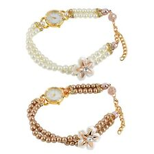 Imitation Pearls Bracelet Quartz Watch Round Dial Watch Star Flower Watch MG