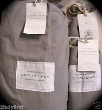 RESTORATION HARDWARE Stonewashed Cotton Linen FL/QN Duvet & 2 Euro Shams ~ FOG