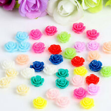 10PCS Vintage Flatbacks Cabochon Rose Flower Resin Lucite Cameo 10MM TSUS