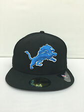 Detroit Lions Black NFL Official On Field 59FIFTY New Era hats caps 5950