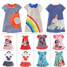 Kids Girls Cartoon Minnie Mouse Party Dress Long T-Shirt Sundress Tops 1-7Years