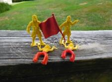 Vintage MPC Plastic Playset Figures - (2) Pirate w/Red Flag & (2) Indians