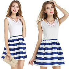 Women Chic Summer Sleeveless Mini Dress Stripe Casual Crew Neck Cute Sundress US