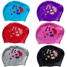 Fashion Chic Hat Long Hair Waterproof Ladies Ear Cups Silicone Swim Cap Women
