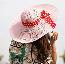 Derby Floppy Women Wide Brim Lady Summer Sun Fold Straw Hat Cap Beach Hat