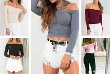 Short Blouse Off Shoulder T-Shirt Casual Pullover Sexy Knit Sweater Tops Women
