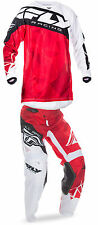 Fly Racing Red/White/Black Mens Youth Kinetic Crux Dirt Bike Jersey & Pant Kit