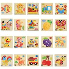 Wooden Blocks Animals/Fruit Puzzle Cartoon For Baby Kid Children Educational Toy