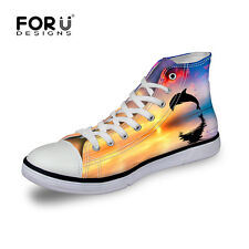 New Underwater Dolphin Casual Canvas Sneakers Lace-up Athletic High Top Unisex
