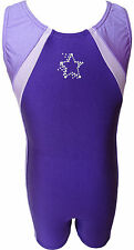 TALENT TALE GIRLS DANCE/ GYMNASTIC  Purple Tank Color Block Rhinestone Biketard
