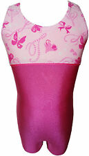 TALENT TALE GIRLS DANCE/ GYMNASTIC Empire Waist Printed Pink Tank Biketard