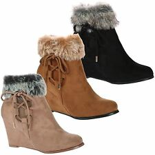Brogan Womens Mid High Wedges Heels Faux Fur Trim Ladies Ankle Boots Shoes Size