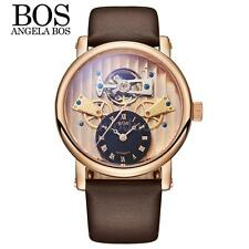 Angela Bos Mens Skeleton Automatic Mechanical Stainless Steel Leather Watch P9T9