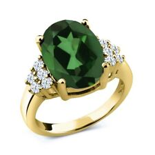5.80 Ct Oval Envy Green Mystic Quartz 18K Yellow Gold Plated Silver Ring