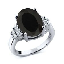 5.33 Ct Oval Black Onyx White Diamond 18K White Gold Ring