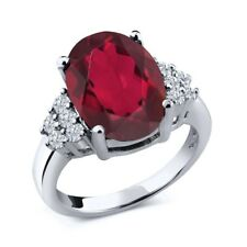 4.33 Ct Oval Red Mystic Quartz White Diamond 14K White Gold Ring