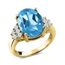 5.40 Ct Oval Swiss Blue Topaz White Topaz 18K Yellow Gold Plated Silver Ring