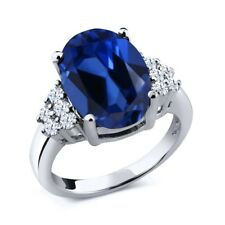 6.53 Ct Oval Blue Simulated Sapphire White Topaz 925 Sterling Silver Ring