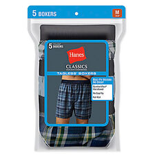 Hanes Classic Mens Underwear Yarn Dyed Exposed Waistband Boxer 5 Pack - New