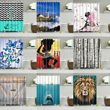 Various Bathroom Shower Curtain Sheer Waterproof Panel Sheer Decor 12 Hooks 1.8M