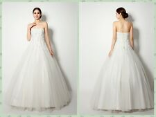 TUlle A Line Applique Flower Wedding Dress Strapless Lace up Back Bridal Gowns