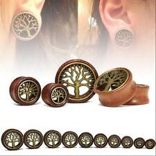 TUNNELS-EAR GAUGES-EAR PLUGS PAIR-WOOD BRASS TREE OF LIFE EAR TUNNELS-FLESH