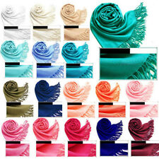 Fashion Women 20 Colors Cashmere Silk Solid Long Pashmina Shawl Wrap Scarf Stole
