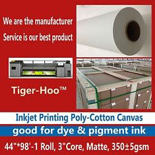 "Water-based Inkjet Printing Poly-cotton Canvas-44"" x 98'-1 Roll-Matte,360gsm"