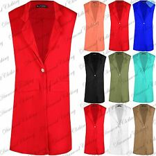 Women Collar LongLine Duster Ladies Sleeveless Waistcoat Jacket Blazer Plus Size