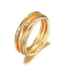 JewelryPalace New Anniversary Band Ring CZ 925 Sterling Silver 18k Gold Plated