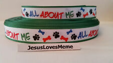 "Grosgrain Ribbon, All About Me with Doggie Paw Prints & Bones, 5/8"" Wide"
