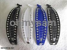"4 NEW MULTICOLOR PLASTIC  BANANA HAIR CLIP / COMB /CLAW  6  ""LONG SILVER DOT"