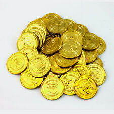100pcs Plastic Gold Coins Pirate Treasure Coin Party Decoration #JC
