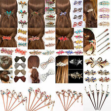 High Colorful Women Retro Crystal Butterfly Flower Hairpins Hair Stick Hair Clip